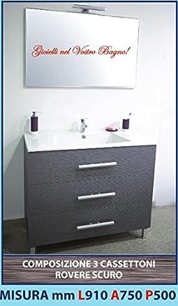 LUISA 46 - Composizione mobile ROVERE SCURO 3 cassettoni, lavello ABS, specchiera e lampada led 910 mm