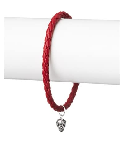 Link Up Skull Charm Red Woven Leather Bracelet