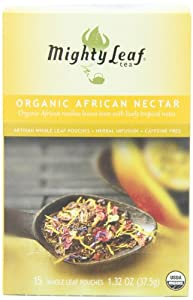 Mighty Leaf Herb Tea, Organic African Nectar, 15-Count Whole Leaf Pouches, 1.32 Ozs. (Pack of 3)
