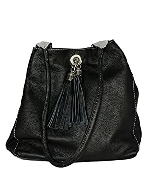 Giglio Soft Italian Leather and Suede Handmade Reversible Shoulder Bag Black and Grey