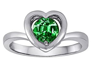 Original Star K(tm) Heart Engagement Promise of Love Ring with 7mm Round Simulated Emerald in 925 Sterling Silver Size 5