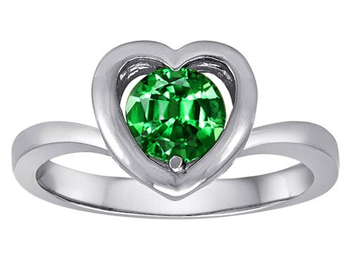 Original Star K(tm) Heart Engagement Promise of Love Ring with 7mm Round Simulated Emerald in 925 Sterling Silver Size 7