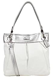 Coach Leather Ashley Convertible Crossbody Hippie Bag 17605 White Silver