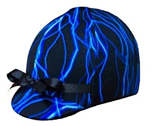 Equestrian Riding Helmet Cover - Blue Lightening