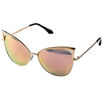 Sunny&Love Women's Fashion Flash Mirror Vintage Cat Eye Sunglasses