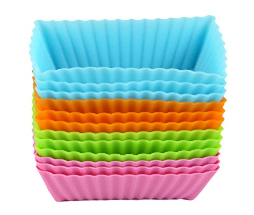 Bakerpan Silicone Mini Cake Holders, Mini Loaf Cup, Rectangle Shape, 12 Pack