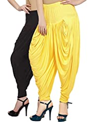 Fashion And Freedom Women's Pack Of 2 Black And Yellow Viscose Dhoti