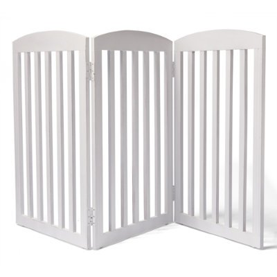 "36""H Freestanding Wooden Pet Gate - Antique White, 5-Panel (120-3/4""W X 3/4""D X 36-1/4""H, 23 Lbs.) - Grandin Road"