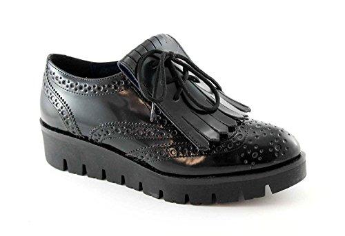PREGUNTA 56501 nero scarpe donna francesina puntale inglese frangia 37