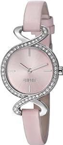 Esprit Damen-Armbanduhr XS Fontana Soft Crystal Analog Quarz Leder ES106282003