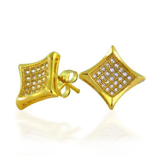 Bling Jewelry Micro Pave Gold Vermeil Kite Mens 9mm Stud Earrings