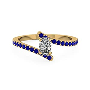 1 Carat Cushion Cut Diamond Engagement Rings Set With Blue Sapphire 14K Gold GIA (E Color, IF Clarity)
