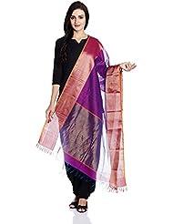 Purple-Orange Maheshwari Silk Cotton Dupatta With Woven Zari Border By Jaypore