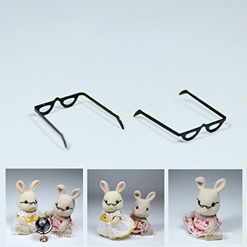 2X Black Metal Frame Eyeglasses Miniature Toy Figure Doll House Accessory Gift