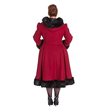 Hell Bunny Elvira Burgundy Long Hooded Vintage Fur Collar Winter Long Swing Coat