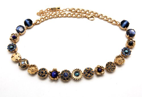 Splendid 24K Yellow Gold Plated Flower Links Necklace from 'Third Eye Chakra' Collection by Amaro Jewelry Studio Embellished with Lapis Lazuli, Onyx, Abalone Blue, Cat's Eye and Swarovski Crystals