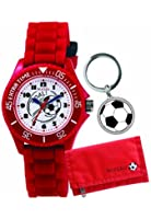 Tikkers Children's Quartz Watch with White Dial Analogue Display and Red Silicone Strap ATK1004