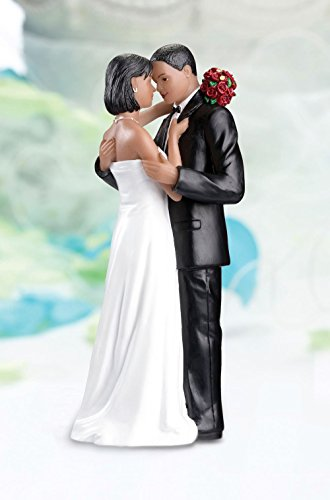 Noir Afro-antillais Afro-américain Bride & Groom Toppers gâteau de mariage