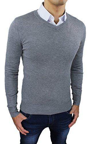 maglioncino-pullover-uomo-casual-grigio-scollo-a-v-invernale-maglia-golfino-slim-fit-aderente-taglia