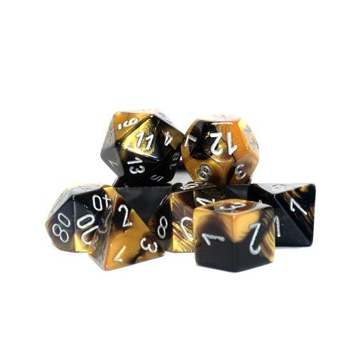 Gemini Polyhedral Black-Gold w/ Silver 7 Dice Set CHX-26451 - 1