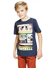 Pure Cotton Football Theme Print T-Shirt