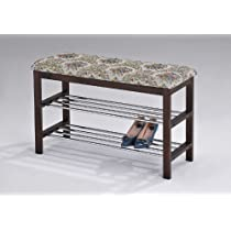 Upholstered / Walnut Finish Kings Brand Wood Shoe Rack Organizer & Bench