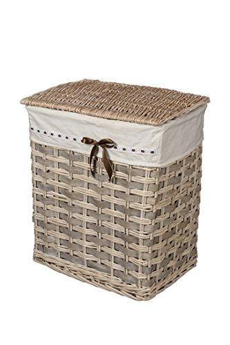 Cesta, Portabiancheria, cesta biancheria, cesto biancheria, cesta per biancheria, armadietto porta biancheria,cesta portabiancheria in vimini con fodera in tessuto con fiocco marrone mis. 35x56x45cm