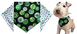 St. Patrick\'s Day Dog Bandana - St. Patrick\'s Shamrocks (S) Ties on 9\