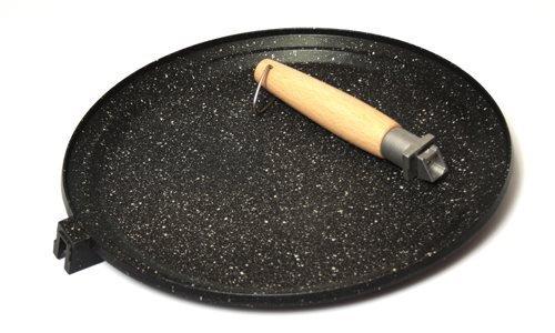 Testo Romagnolo Poêle plate à double bord en Aluminium avec Revêtement anti-adhérent en pierre de lave émaillée et Manche amovible - 32 cm