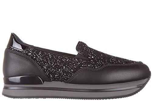 Hogan slip on donna in pelle sneakers nuove originali h222 pantofola nero EU 38 HXW2220T670EJKB999
