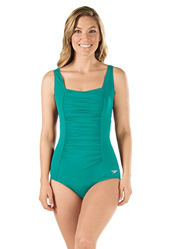 Speedo 7234015 Womens Shirred Tank – Speedo Endurance+, Tropical Teal – 16