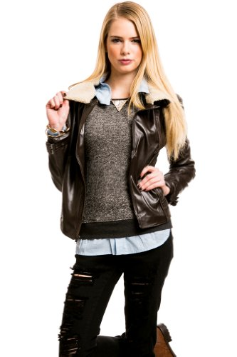 Wool Collared PU Leather Jacket in Brown