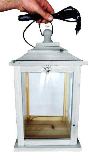 Holzlaterne, als Glasvitrine mit Beleuchtung, mit Glas und Holz - Rahmen, mit Holz - Deko KL-OFOS-HELLGRAU aus Holz hellgrau weiss weiß - grau Lasur