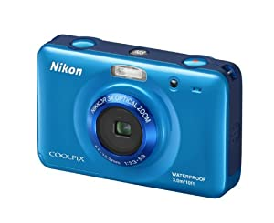 Nikon COOLPIX S30 Waterproof Compact Digital Camera - Blue (10.1MP, 3x Optical Zoom) 2.7 inch LCD