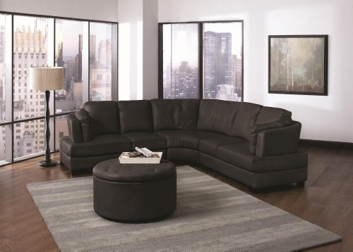 Landen Black Leather Match Sectional Sofa with Round Storage Ottoman