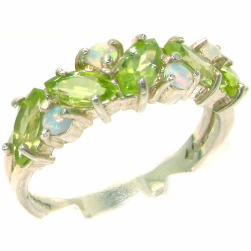 925 Sterling Silver Natural Peridot & Opal Womens Eternity Ring