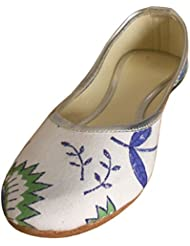 Kalra Creations Women's Traditional Self Print Cotton Cloth Ethnic Shoes - B019WDHBFC