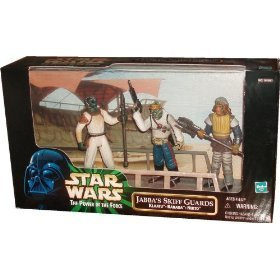 Star Wars 1998 The Power of The Force 3-Pack Movie Scene 4 Inch Tall Action Figure Set - Jabba's Skiff Guards with Klaatu, Barada and Nikto Figures Plus Display Base