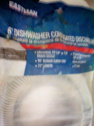 6' Dishwasher Corrugated Discharge Hose -- Universal fit 5/8