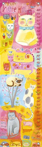 Oopsy Daisy Growth Charts Kitty Cat Cuteness by Donna Ingemanson, 12 by 42-Inch