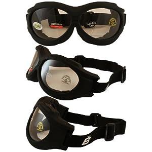 Birdz Eyewear Buzzard Motorcycle Goggles (Black Frame/Clear Lens)