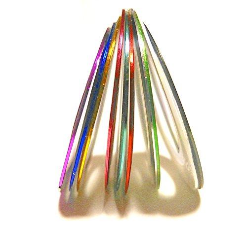 ネイルアート用ラインテープ10色セット メタリックカラー ネイルデザインテープ ネイルアートテープ ジェルネイル
