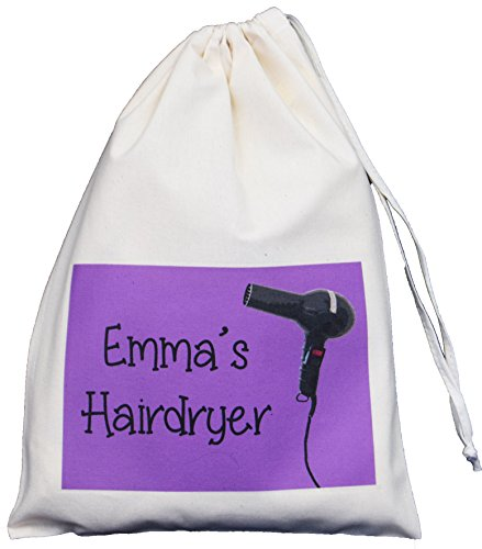 personalised-hairdryer-small-storage-bag-purple-design-small-natural-cotton-drawstring-bag-supplied-
