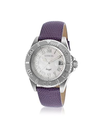 Invicta Women's 18399 Angel Violet/White Mother-of-Pearl Leather Watch
