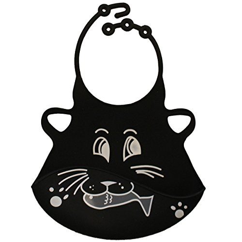 Adjustable Silicone Baby Bib - Packed in Nice Gift Box - This BPA Free Rubber Bib Is Very Stylish and Environmentally Friendly and Can Safely Be Washed in the Dishwasher. It Protects Baby's Clothes and Is Very Easy to Clean. (Black Cat)