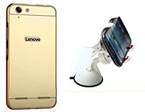 Novo Style Back Cover Case with Bumper Frame Case for Lenovo Vibe K5 Plus Golden + Car Mount Cradle Holder Windshield Mobile / Gps Suction Holder Stand - Clip Type