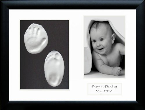 buy BabyRice Baby Handprint Footprint Kit Soft Clay Dough with Black Frame for sale