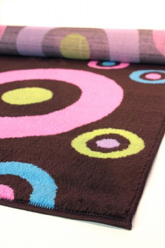 Colorful Kids Area Rugs 5' X 7' (Brown Dots)