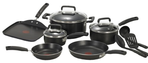 T-fal C111SC74 Signature Nonstick Expert Interior Thermo-Spot Heat Indicator Dishwasher Safe 12-Piece Cookware Set, Black