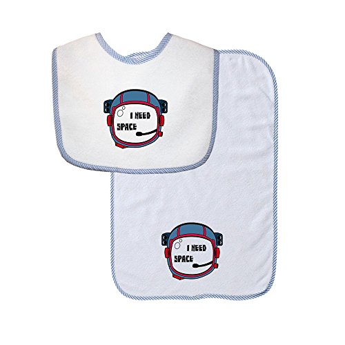 Space Helmet I Need Space Funny Baby Soft Terry Cotton Baby Bib & Burp Cloth Set